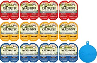 Nutro Wild Frontier Perfect Portions High Protein Grain Free Cat Food Pate in 3 Flavors – Chicken/Beef, Turkey/Duck, & Salmon/Trout - 12 Twin Packs, 2.64 Oz Each + Silicone Can Cover – 13 Items Total