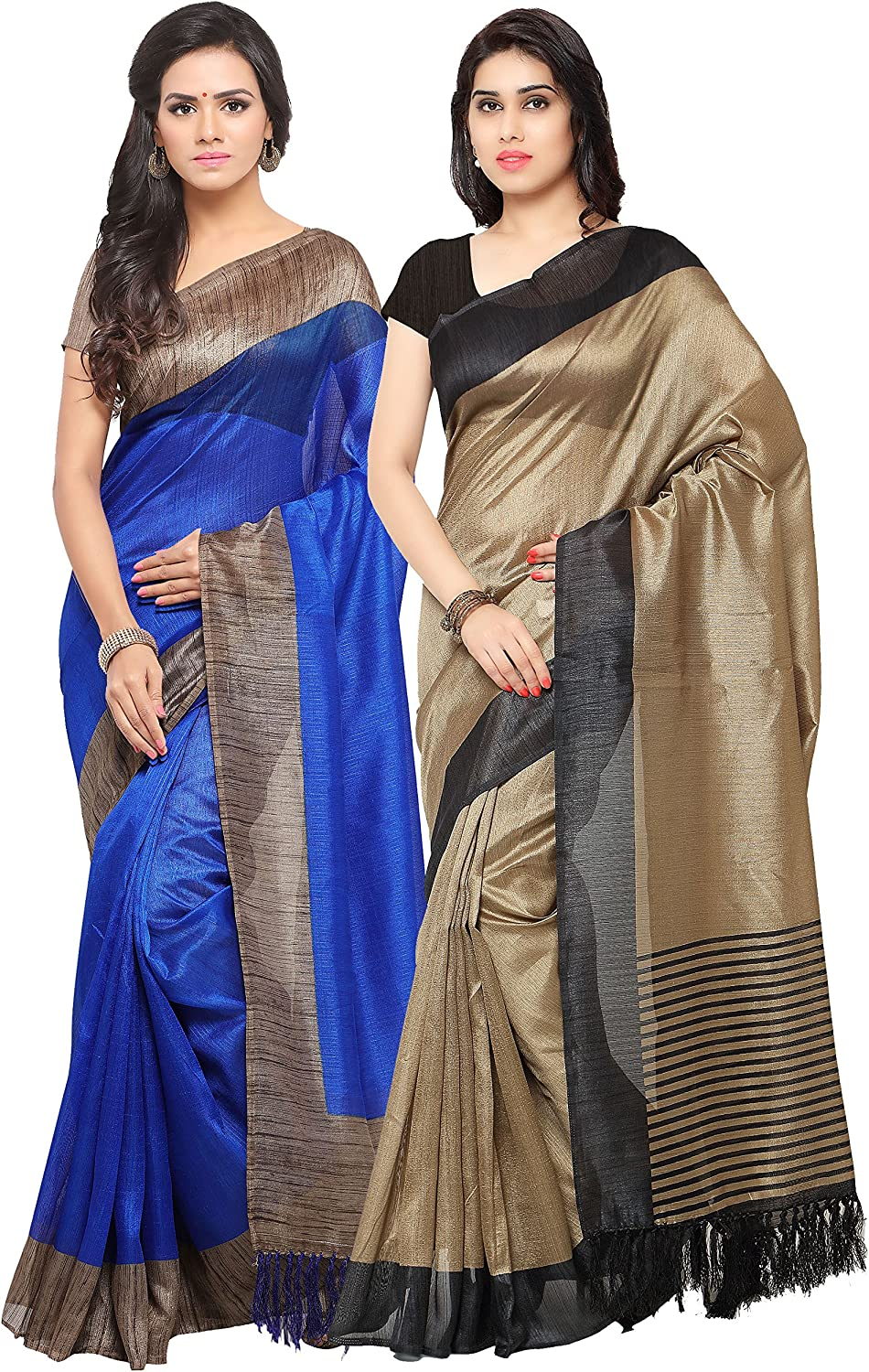Rajnandini Women's Tussar Silk Printed Saree(JOPLNB3006A3011D_Multicolor_Combo Of 2)