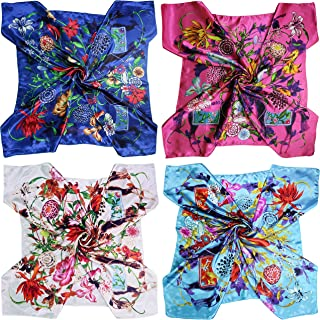 4 Pc Set Large 35 x 35 inches Satin Square Scarves Neck Hair Head Scarf Bundle