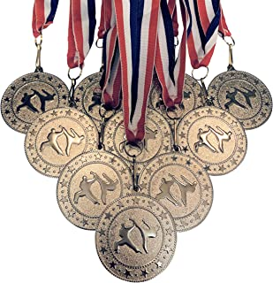 10 Pack of Silver Karate Martial Arts Medals Trophy Award with Neck Ribbons