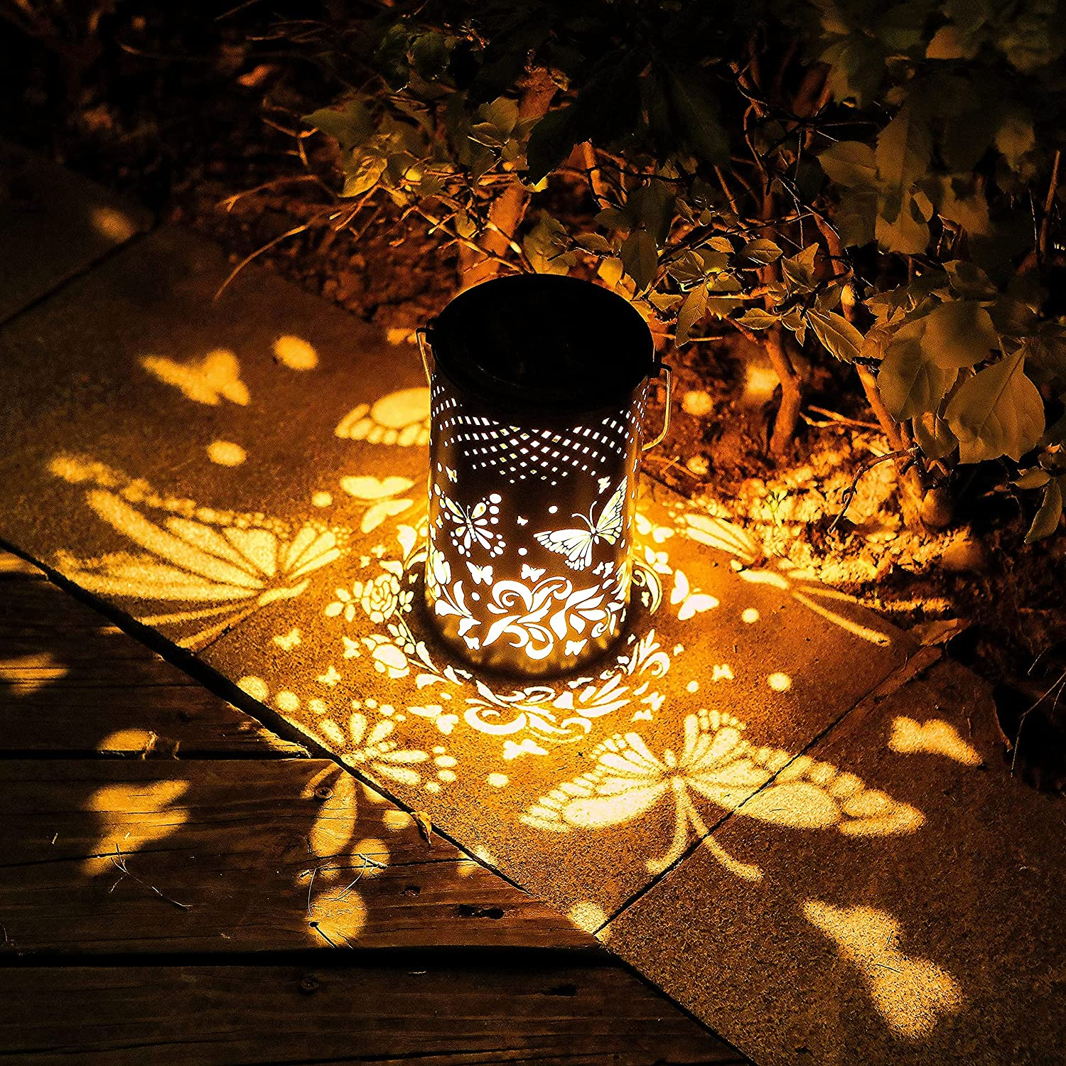 Solar Lanterns Outdoor Waterproof,Retro Metal Led Decorative Hanging Solar Lights for Yard,Garden,Patio,Table,Lawn,(Warm White Butterfly )