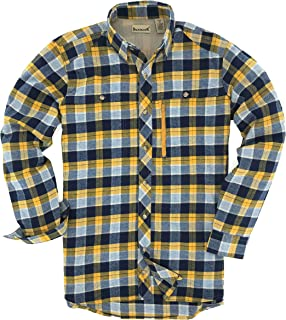 Backpacker Apparel Men's Albacore Stretch Flannel Shirt, Gold/Navy, 3X-Large