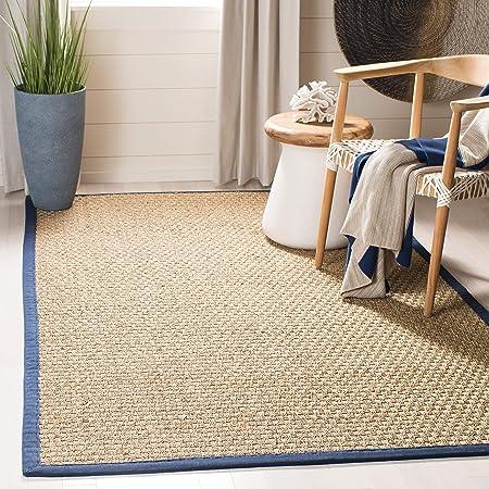 Amazon Com Safavieh Natural Fiber Collection Nf114e Border Basketweave Seagrass Area Rug 8 X 10 Blue Furniture Decor