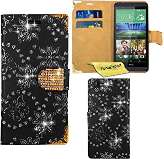 HTC Desire 816 Case, FoneExpert® Bling Luxury Diamond Leather Wallet Book Bag Case Cover For HTC Desire 816 + Screen Protector & Cloth (Black)