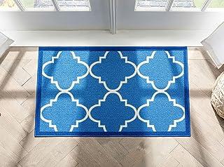 "Well Woven Non-Skid Slip Rubber Back Antibacterial 18"" x 31"" Door Mat Rug Dallas Moroccan Trellis Blue Modern Geometric La..."