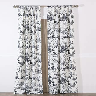 Greenland Home Classic Toile Curtain Panel Pair, Black