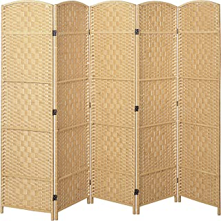 MyGift Handwoven Bamboo 5 Panel Partition Semi-Private Room Divider with Dual Hinges, Beige