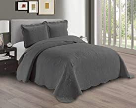 AZORE LINEN Solid Bedspread Quilt Coverlet Bedding Set Embossed with Seamless Floral Paisley Pattern - Dana (Charcoal, Ful...