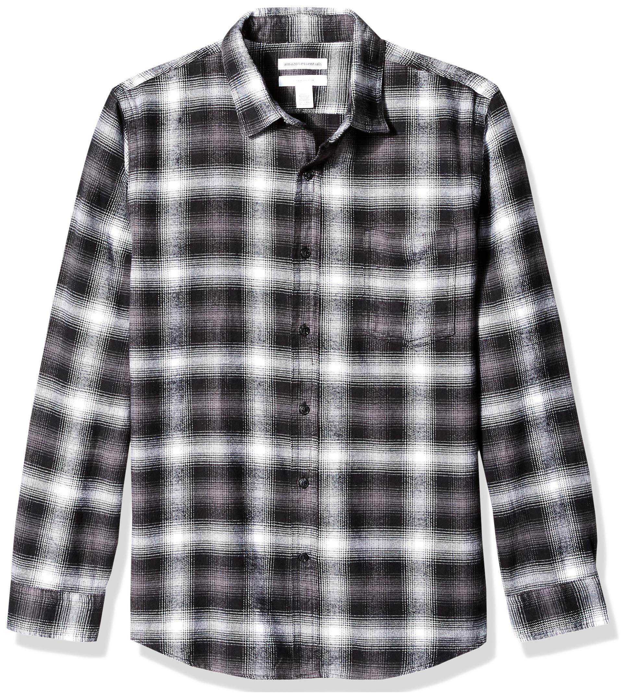 Essentials Mens Slim-Fit Long-Sleeve Plaid Flannel Shirt