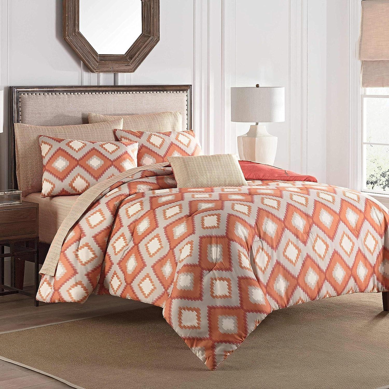 MISC cheap 8 Piece Orange Gray Boho Chic Comforter Bohemian Queen Max 69% OFF Set