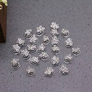 WEFOO 20PCS Clear Crystal Butterfly Shape Swirl Hair Twists Coils Spirals Hair Pin Clip Accessories for Women and Girls
