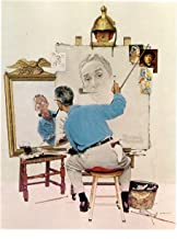 Triple Self Portrait 1960 Art Print Norman Rockwell Print - 8 in x 10 in - Matted to 11 in x 14 in - Mat Colors Vary