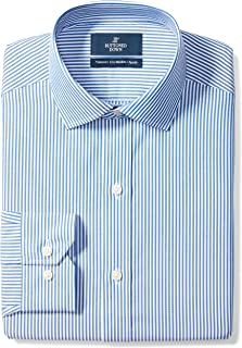 Amazon Brand - Buttoned Down Men's Tailored-Fit Stripe Dress Shirt, Supima Cotton Non-Iron