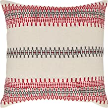 Stone & Beam Modern Woven Stripe Throw Pillow - 18 x 18 Inch, Red and Grey