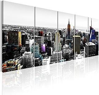 murando Cuadro Acústico New York 200x80 cm XXL Impresión Artística 5 Piezas Lienzo de Tejido no Tejido Estampado Decoración de Pared Aislamiento Absorción de Sonidos Ciudad City d-C-0069-b-m