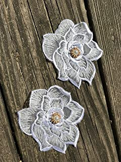 """4""""X 3.5"""", 3D Lace Appliques with Beaded, Two Pieces Embroidered Appliques,Patch Lace in White"""