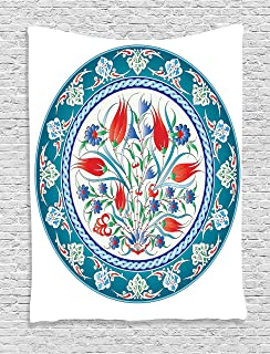 Ambesonne Tulip Tapestry, Historical Traditional Medieval Turkish Ornate Tulip Flowers Round Frame Print, Wall Hanging for Bedroom Living Room Dorm, 60