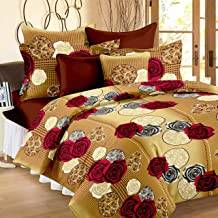 Story@Home 120 TC Vivid Roses Cotton Double Bedsheet with 2 Pillow Covers - Cream