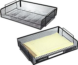 Set of 2 Black Mesh Wire Stackable Document Trays, Folder Letter Racks