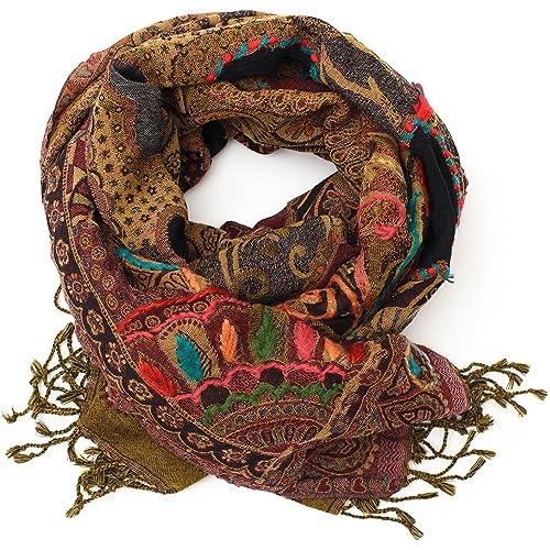 ufash Pashmina Schal diverse Designs Paisley Muster handbestickt /& warm aus Punjab 180 x 70 cm Indien 100/% Wolle