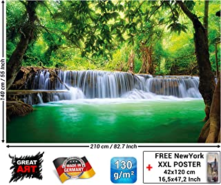 Mural – Waterfall Feng Shui – Wall Picture Decoration Nature Jungle Scenery Paradise Vacation Thailand Asia Wellness Spa Relax Wallposter Photo Wallpaper (82.7 x 55 Inch / 210 x 140 cm)