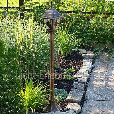 Lámpara de pie con pie bañadas en Oro Tiffany de Cristal Hofmeister Exterior lámpara de jardín Lámpara 8185 IP43: Amazon.es: Hogar