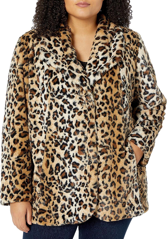 Karen Kane Women's Plus Size Leopard Faux Fur Coat