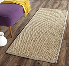 Safavieh Natural Fiber Collection NF114P Basketweave Natural and Grey Summer Seagrass Runner (2'6
