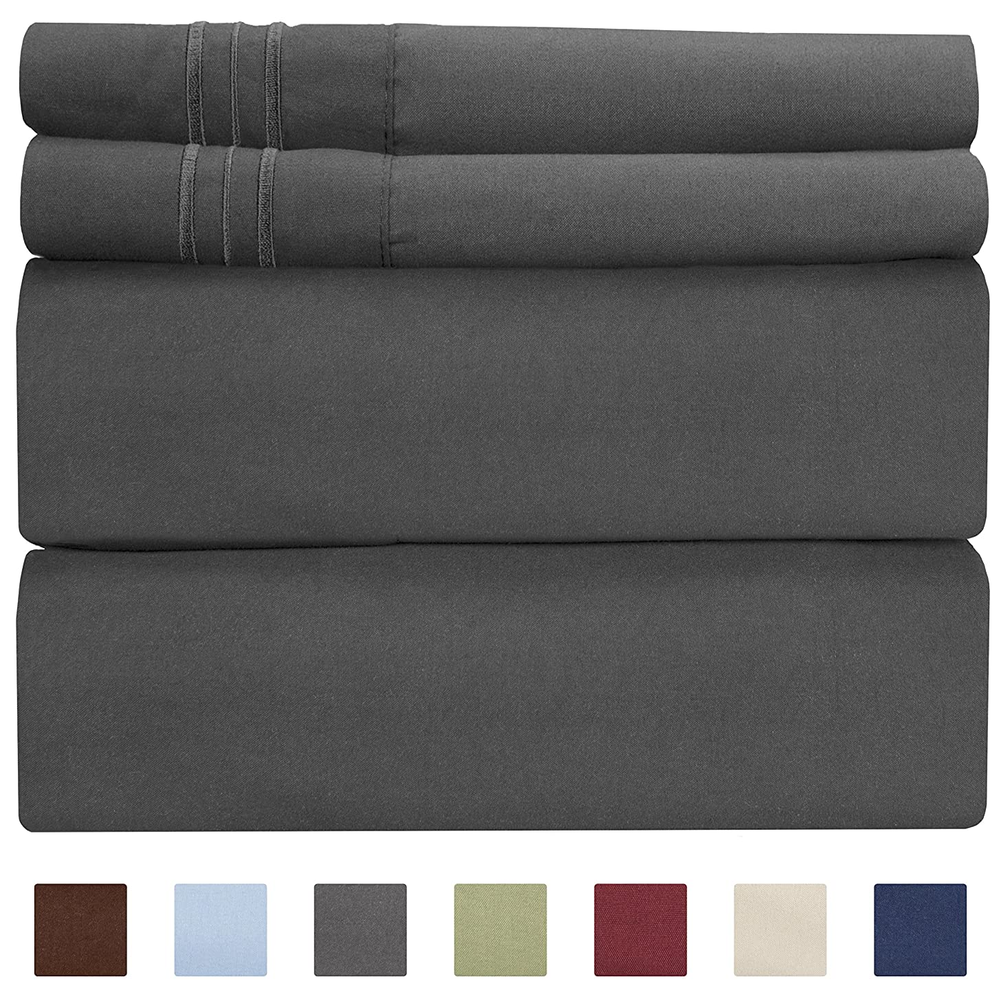 Queen Size Sheet Set - 4 Piece - Hotel Luxury Bed Sheets - Extra Soft - Deep Pockets - Easy Fit - Breathable & Cooling Sheets - Wrinkle Free - Comfy – Dark Grey Bed Sheets - Queens Sheets – 4 PC