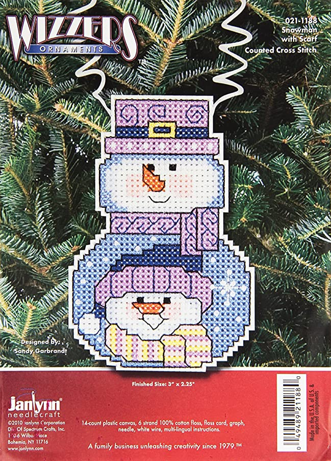 Janlynn Cross Stitch Kit, Snowman with Scarf
