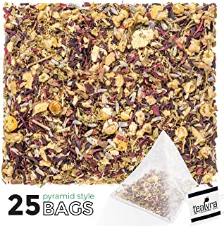Tealyra - Night Time Detox Pyramids Bags - Lavender - Chamomile - Hibiscus - Licorice - Wellness Herbal Loose Leaf Tea - Digestive - Relaxing - Caffeine Free - All Natural - 25 Sachets