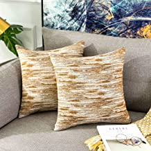 Home Brilliant Abstract Textured Decorative Throw Pillow Covers for Couch, 18x18 inch 45x45cm, Set of 2, Yellow Stripes Mustard