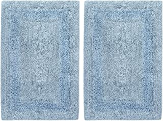 COTTON CRAFT 2 Piece Reversible Step Out Bath Mat Rug Set 21x34 Spa Blue, 100% Pure Cotton, Super Soft, Plush & Absorbent, Hand Tufted Heavy Weight Construction, Full Reversible, Rug Pad Recommended