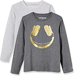 Kid Nation Kids Unisex 2 Packs 100% Cotton Tagless Long Sleeve Crewneck T Shirt Top for Boys or Girls 4-12 Years