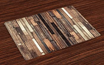 Ambesonne Wooden Place Mats Set of 4, Brown Old Hardwood Floor Plank Grunge Lodge Garage Loft Natural Rural Graphic Print, Washable Fabric Placemats for Dining Table, Standard Size, Brown