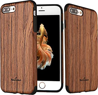 NeWisdom iPhone 8Plus 7Plus Case Wood [Nature Series] Unique Slim Soft Rubberized Wood Cover [ Thin Wood Layer Over Rubber ] Case for Apple iPhone 8Plus iPhone 7Plus– Sandalwood