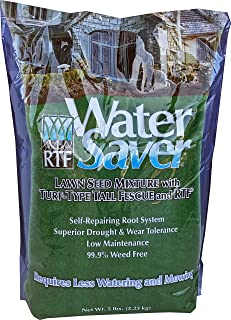 WaterSaver Grass Seed Mixture With Turf-Type Tall Fescue - Used to Seed New Lawn and Patch Up Jobs - Grows in Sun or Shade - 5 lbs - covers 1/50 Acre