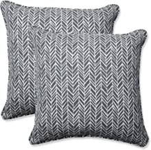 Pillow Perfect Outdoor | Indoor Herringbone Slate 16.5 Inch Throw Pillow, 16.5 X 16.5 X 5, Grey
