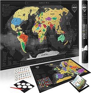 Wond3rland Premium Mapamundi Para Rascar + EXTRA Mapa de Europa con Países Delineados   Regalo Lujoso Para Viajeros y Registro de Viajes   GRATIS Juego Completo de Accesorios + eBook de Viajes