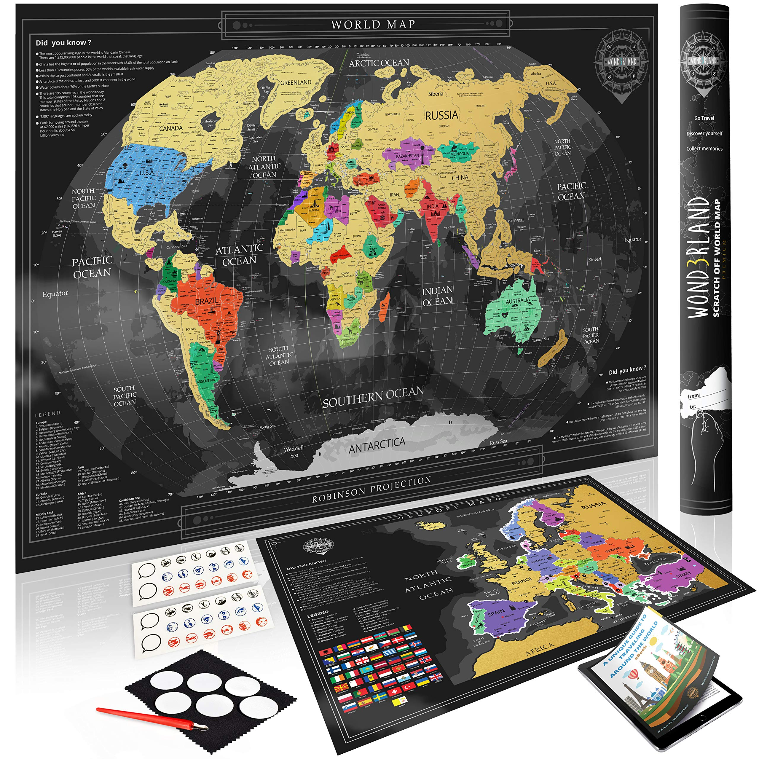 Wond3rland Premium Mapamundi Para Rascar + EXTRA Mapa de Europa con Países Delineados | Regalo Lujoso Para Viajeros y Registro de Viajes | GRATIS Juego Completo de Accesorios + eBook de Viajes: