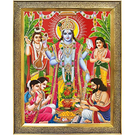 Koshtak Sri Satyanarayan Swamy Vishnu Avatar Photo Frame for Wall Hanging/Gift/Temple/puja Room/Home Decor Golden Frame with Unbreakable Acrylic Glass for Worship