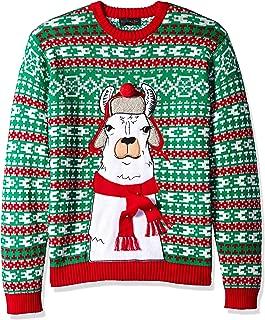 Men's Ugly Christmas Sweater Llama, Green/Ivory, X-Large