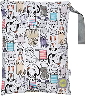"""Itzy Ritzy Sealed Wet Bag With Adjustable Handle – Washable and Reusable Wet Bag with Water Resistant Lining Ideal for Swimwear, Diapers, Gym Clothes & Toiletries; Measures 11"""" x 14"""", Cats & Dogs"""