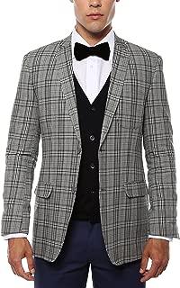 Ferrecci Men's Zeus Grey & Black Plaid Slim Fit Blazer