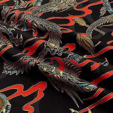 Alexander Henry s Golden Tatsu Metallic Quilt Fabric, Black, Quilt Fabric By The Yard