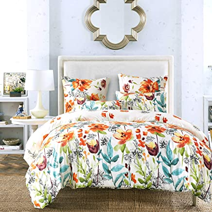 featured product NAIVON Bedding Lightweight Microfiber Duvet Cover Set,  3 Piece - Luxury Hypoallergenic Down Comforter Quilt Cover with Zipper Closure, Printed Floral Pattern Design (Colorful Flower,  Queen)