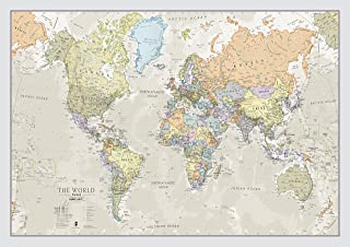World Map Classic Style - Front Sheet Lamination - Cartographic Detal (A1 33.1 (w) x 23.4 (h) inches)