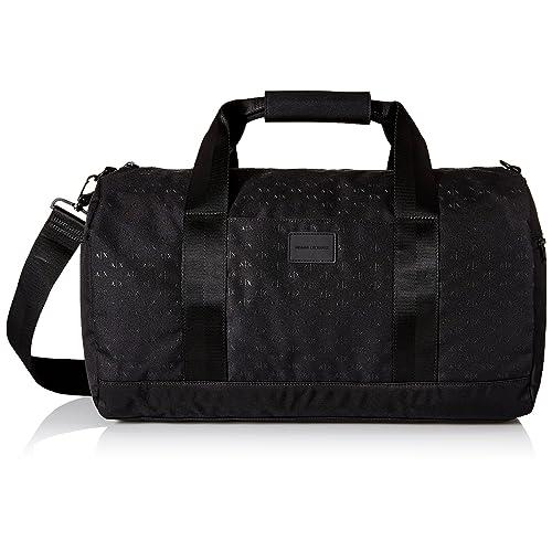 Armani Exchange Men s Light Weight Dobby Nylon All Over Logo Duffle  Weekender Bag cb61873e7e275