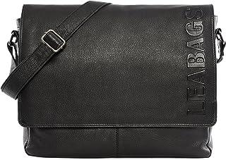 LEABAGS Oxford Umhängetasche Leder Laptoptasche 15 Zoll aus echtem Büffel-Leder im Vintage Look, LxBxH: ca. 38x10x31 cm - OnyxSchwarz - Prägung
