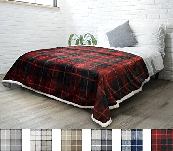 PAVILIA Premium Plaid Sherpa Fleece Bed Blanket Twin Size Super Soft Cozy Plush Lightweight Microfiber Reversible Bed Blanket For Couch Sofa Bed All Season Red 60 X 80 Inches
